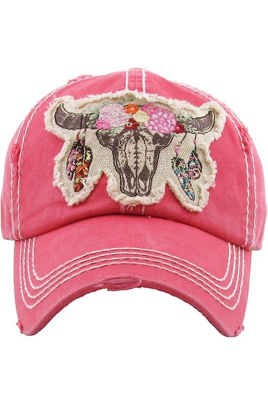 Floral Steer Distressed Ball Cap