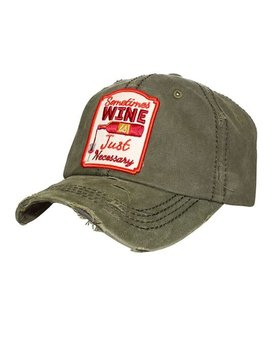 Cactus Creek Wine is Necessary Ball Cap Olive