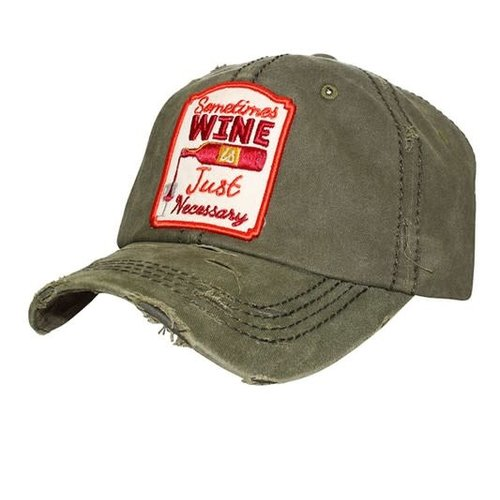 Wine is Necessary Ball Cap Olive