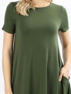 CURVY Olive Shirt Dress