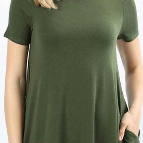 CURVY Olive Shirt Dress