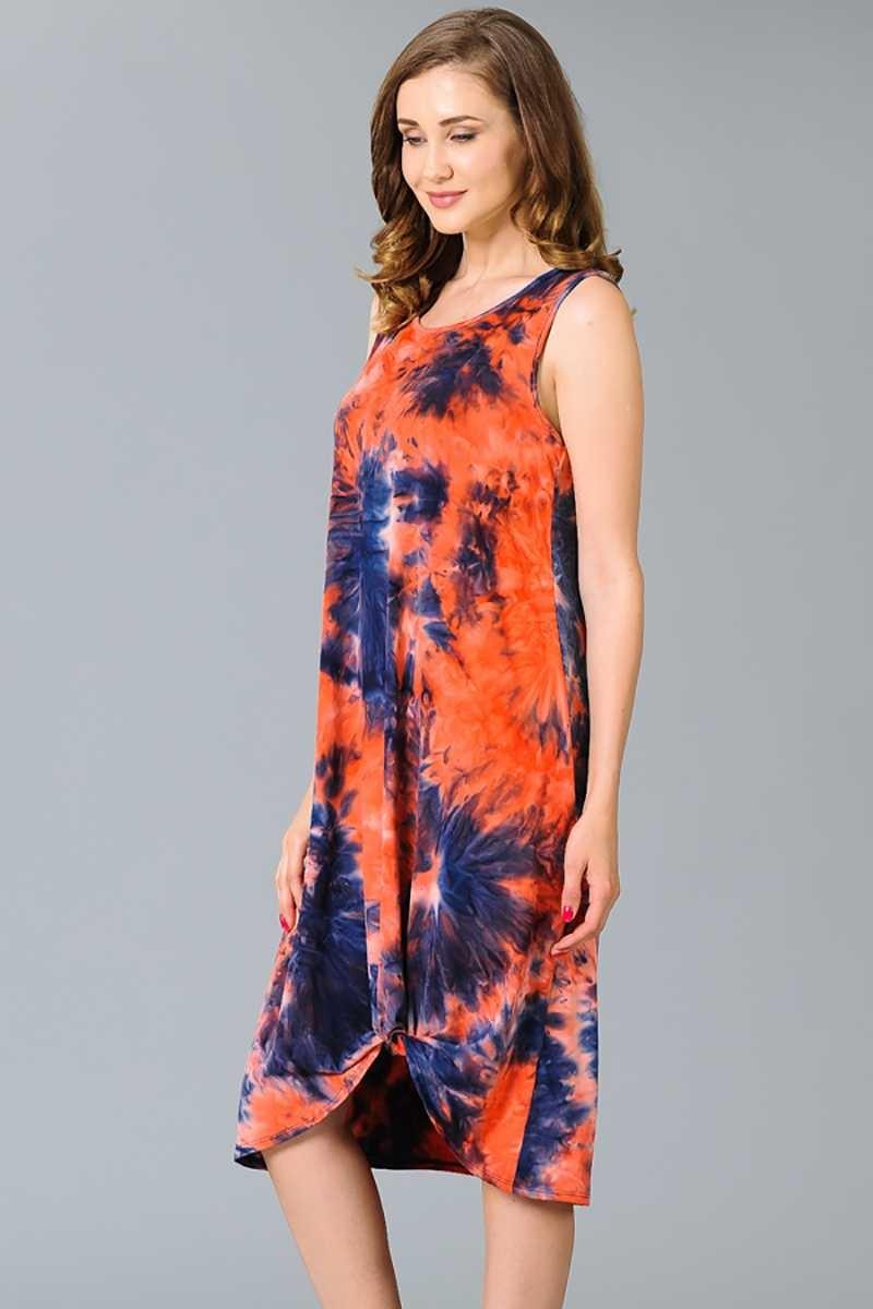 Tie Dye Side Twist Dress