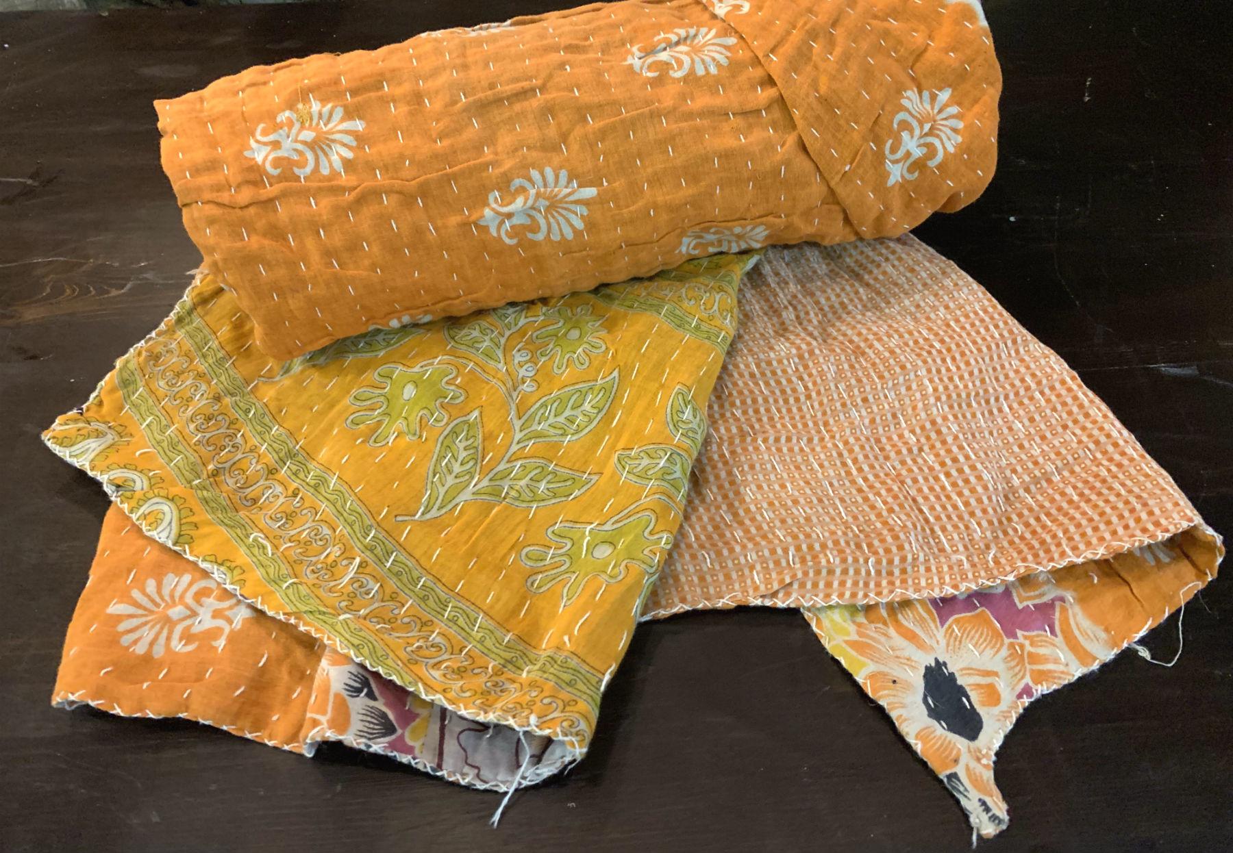 Kantha Sari Throw #28