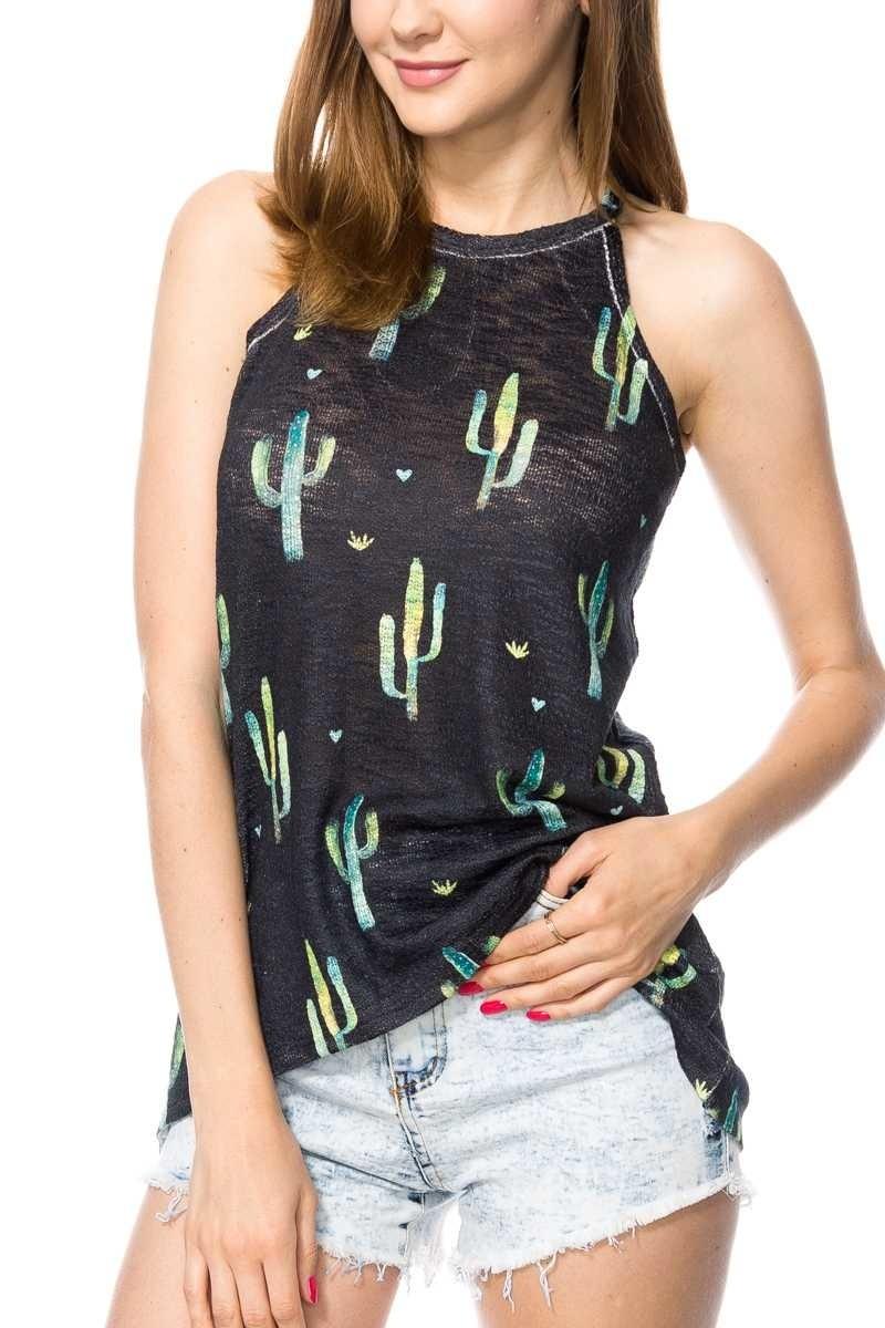 Cactus Print Tank Top