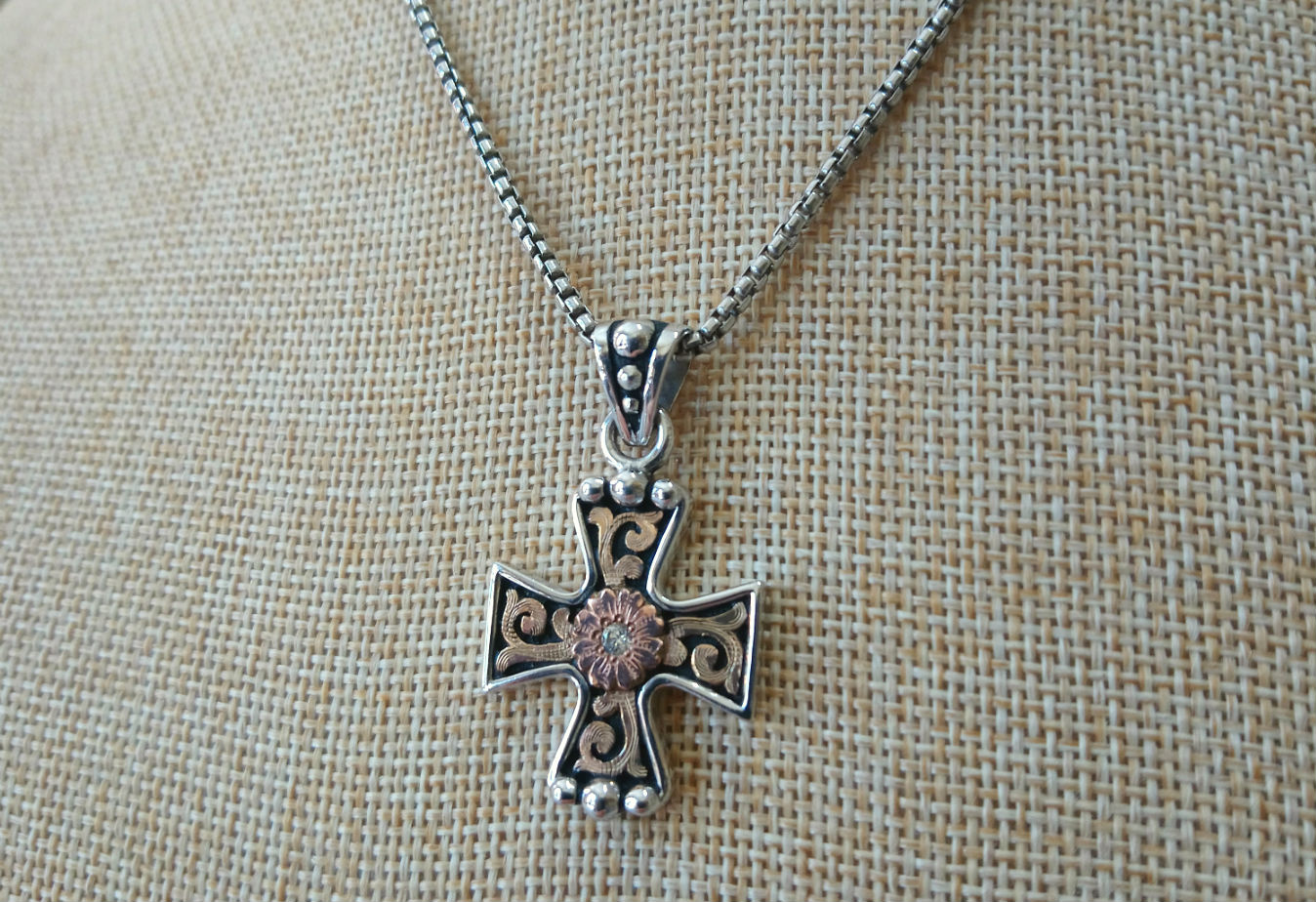 Bob Berg Silver & Gold Western Cross Necklace