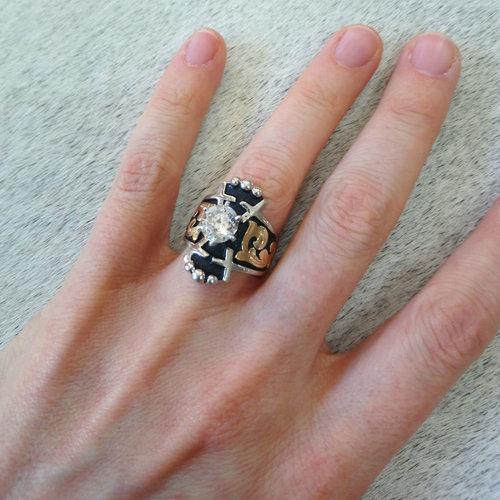 Bob Berg Sterling & Gold & CZ Ring Size 5