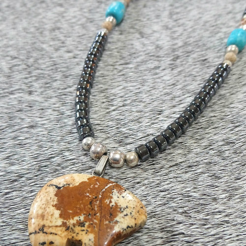 Hematite & Carved Bear Necklace