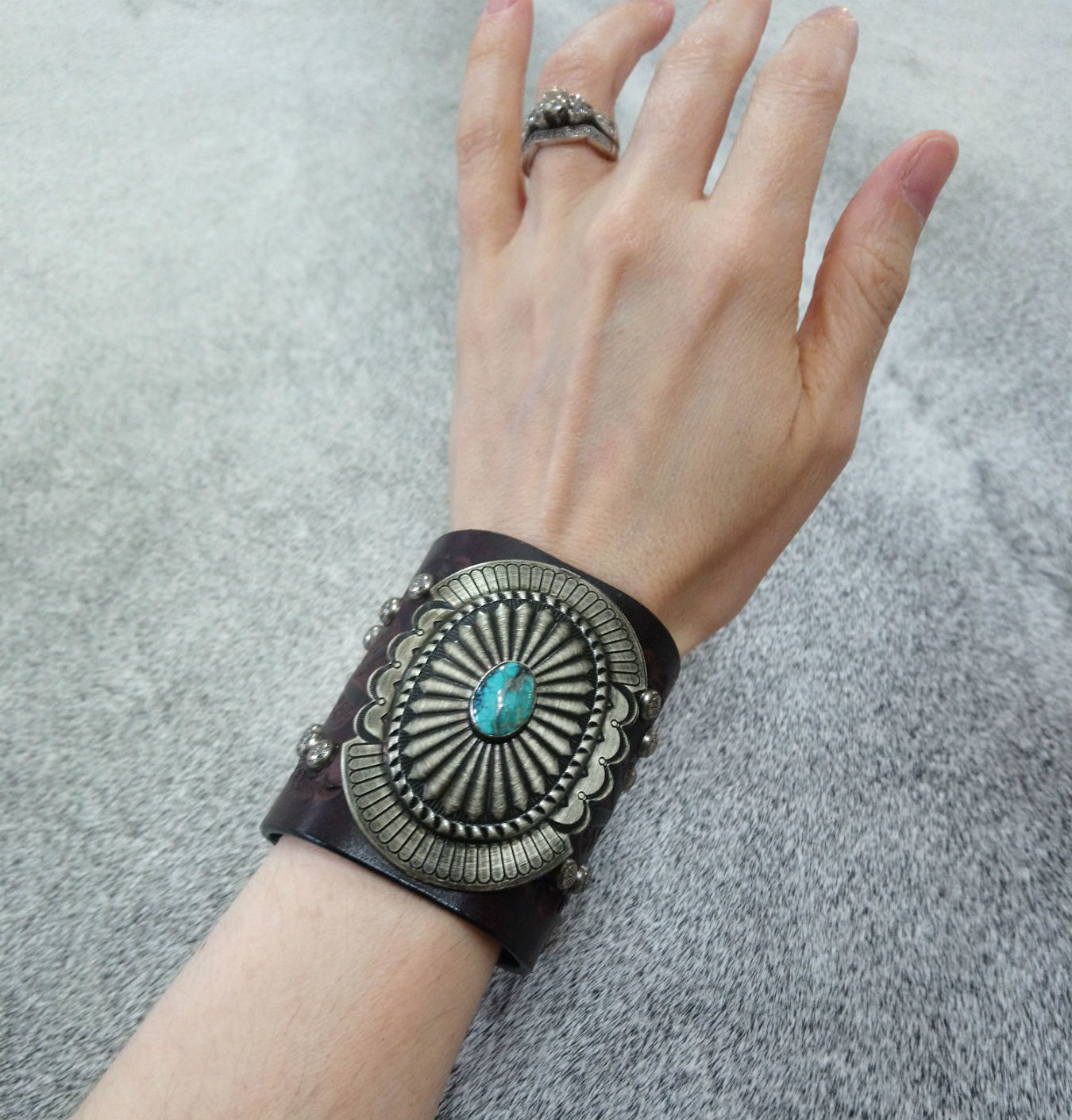 Stamped Wide Leather & Turquoise & Silver Cuff Bracelet