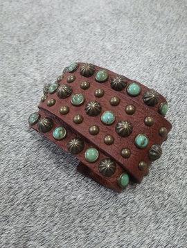 Leather & Turquoise Wrap Bracelet