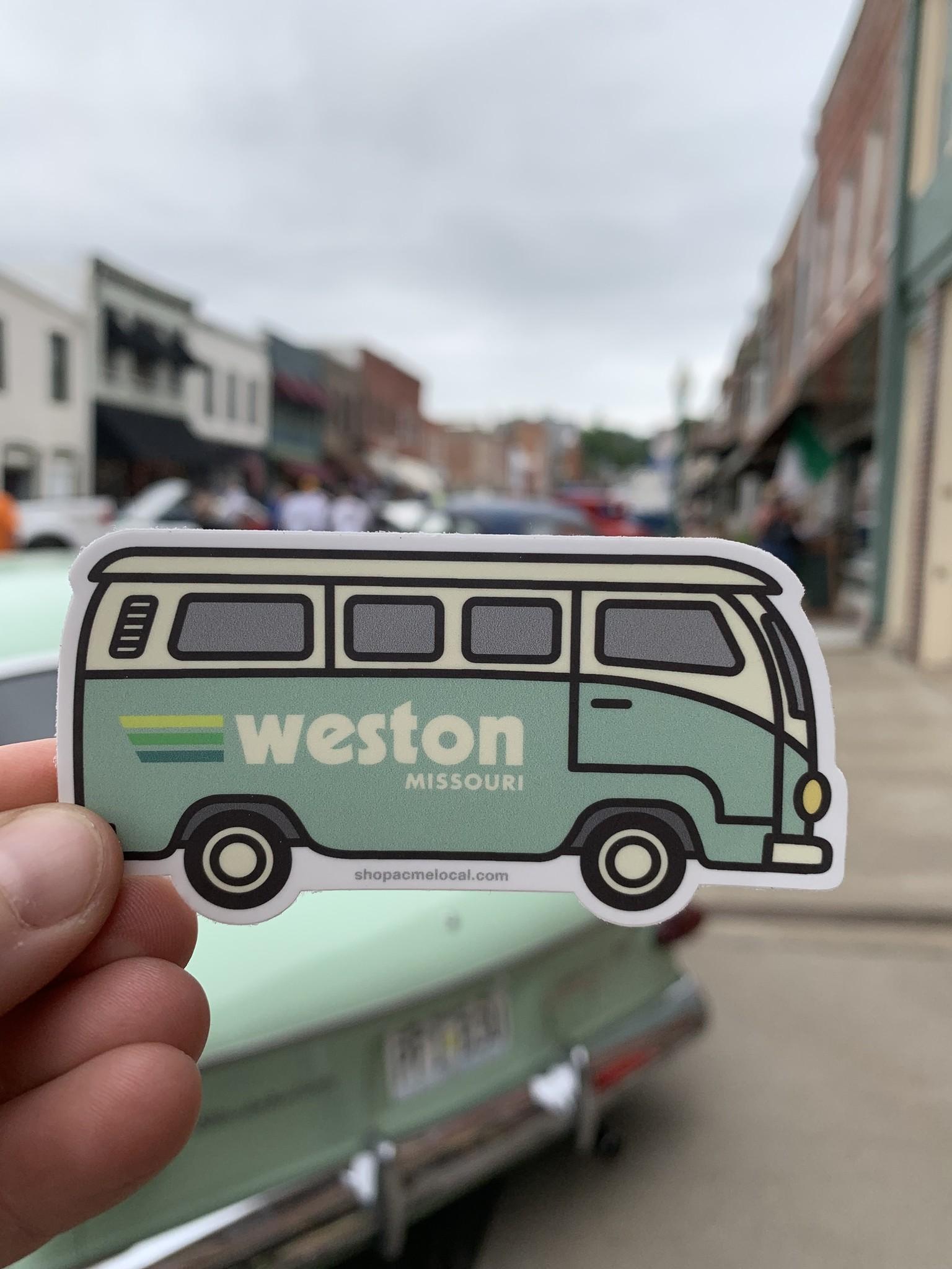 VW Bus Weston Sticker in Mint Green