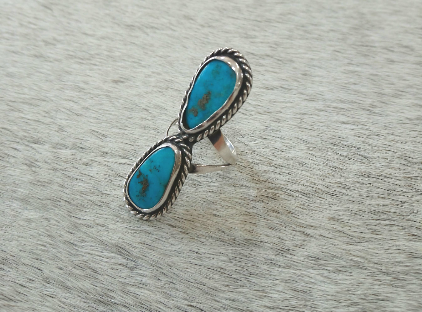 Twin Turquoise Oblong Ring