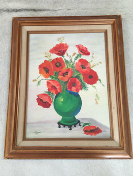 Vintage Poppy Still Life Painting