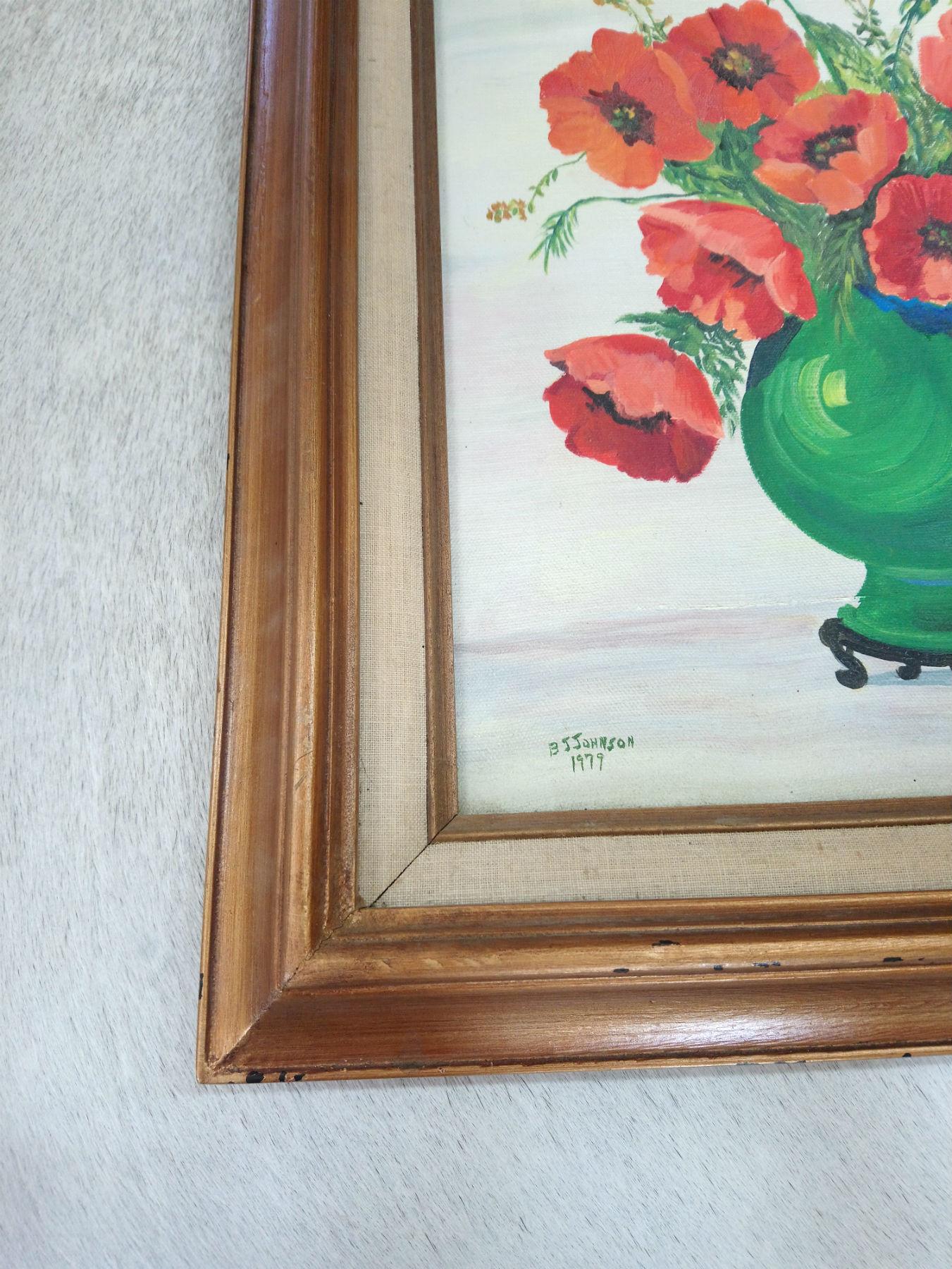 Vintage Poppy Still Life Painting