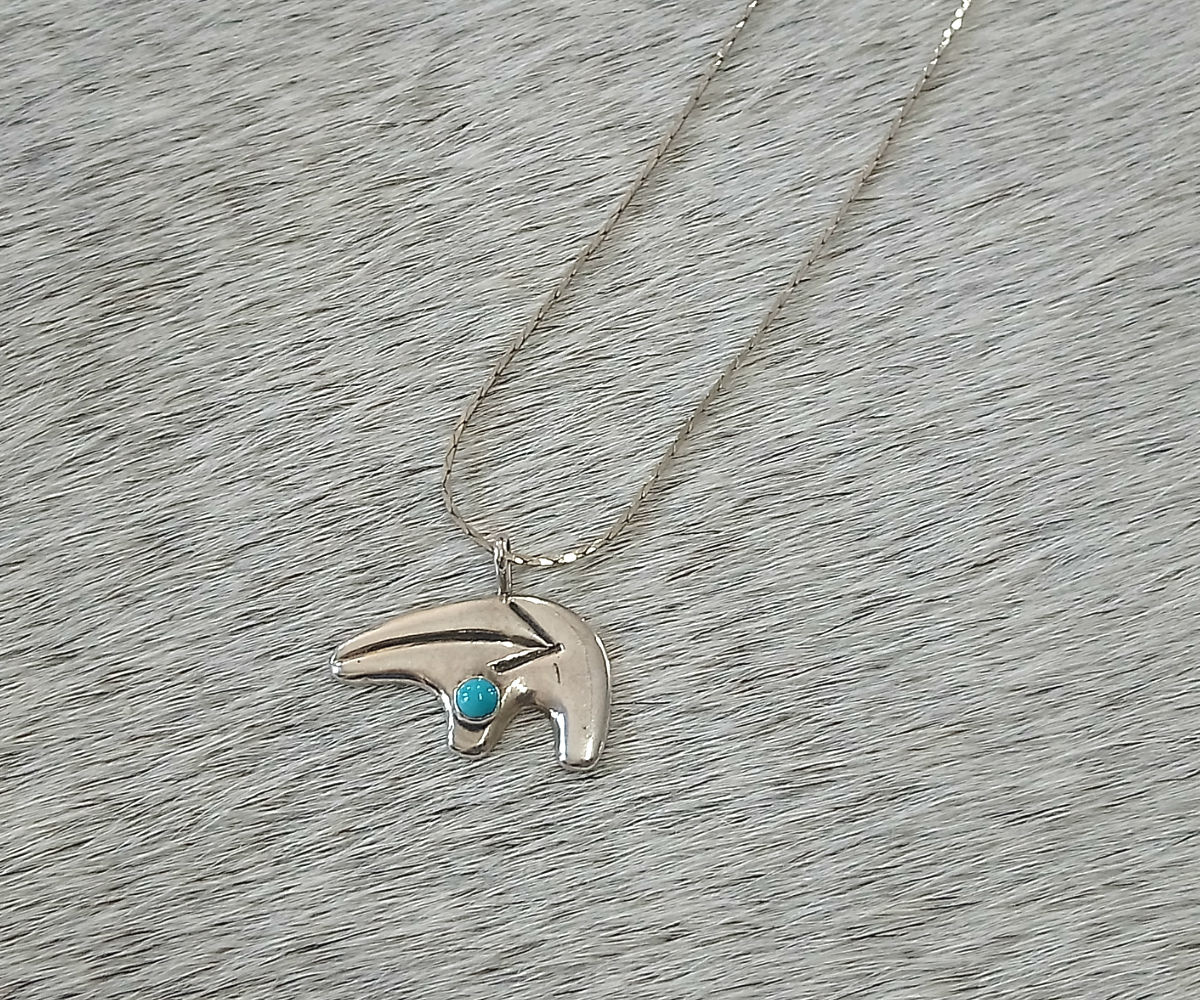 Native American Silver & Turquoise Pendant