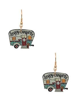 Happy Camper Wood Earring