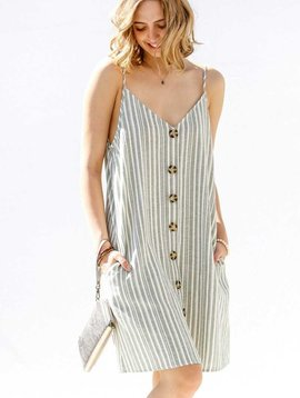 Sage Striped Cami Dress