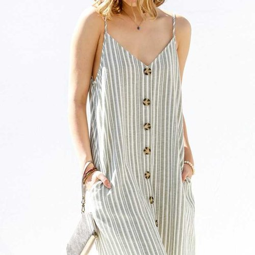 Sage Striped Cami Dress