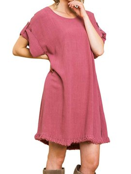 Berry Linen Frayed Hem Dress