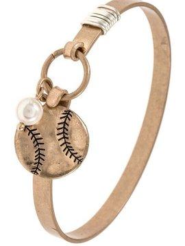 Gold Baseball Bangle Bracelet
