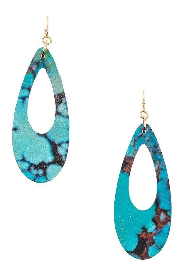 Teardrop Wood Dangle Earring Turquoise