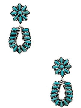 Floral Turquoise Teardrop Earring