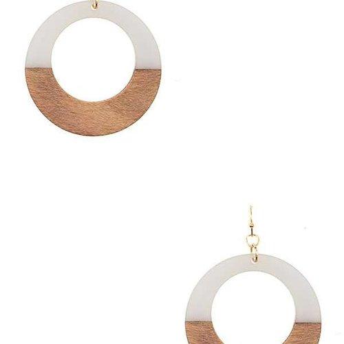 Wood + Resin Circle Earring Gray