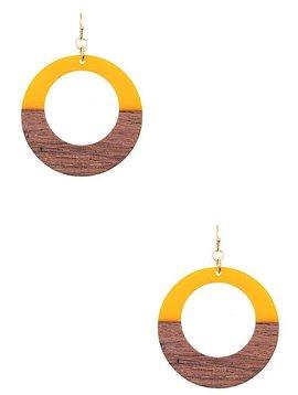 Wood + Resin Circle Earring Yellow