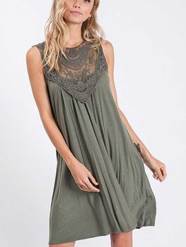Vintage Washed Lace Front Olive Dress