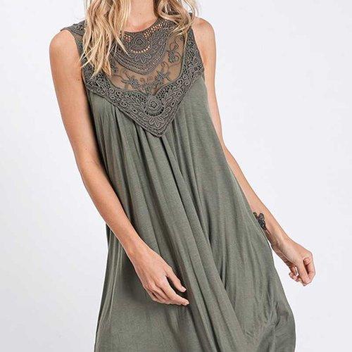 Vintage Washed Lace Front Olive Dress
