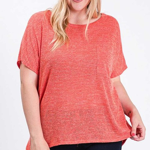 CURVY Coral Rose Cutout Top