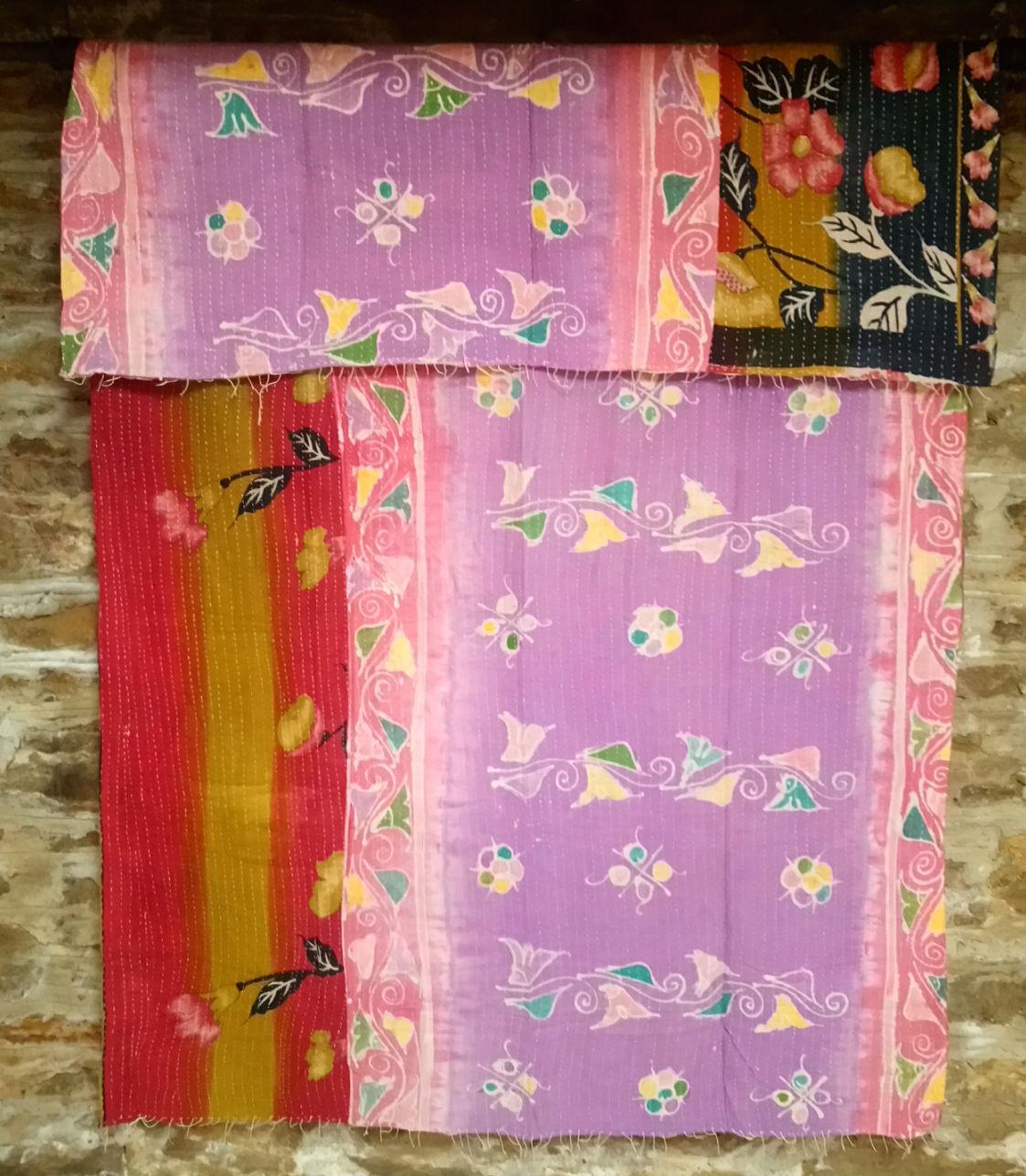Kantha Sari Throw #33