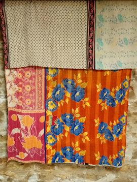 Kantha Sari Throw #29