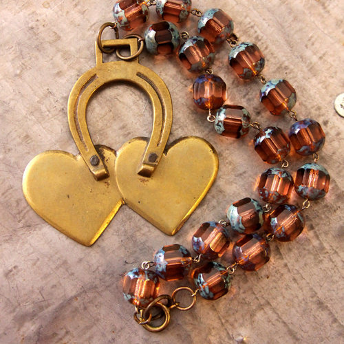Vintage Lucky Horseshoe Horse Bridal Pendant Necklace