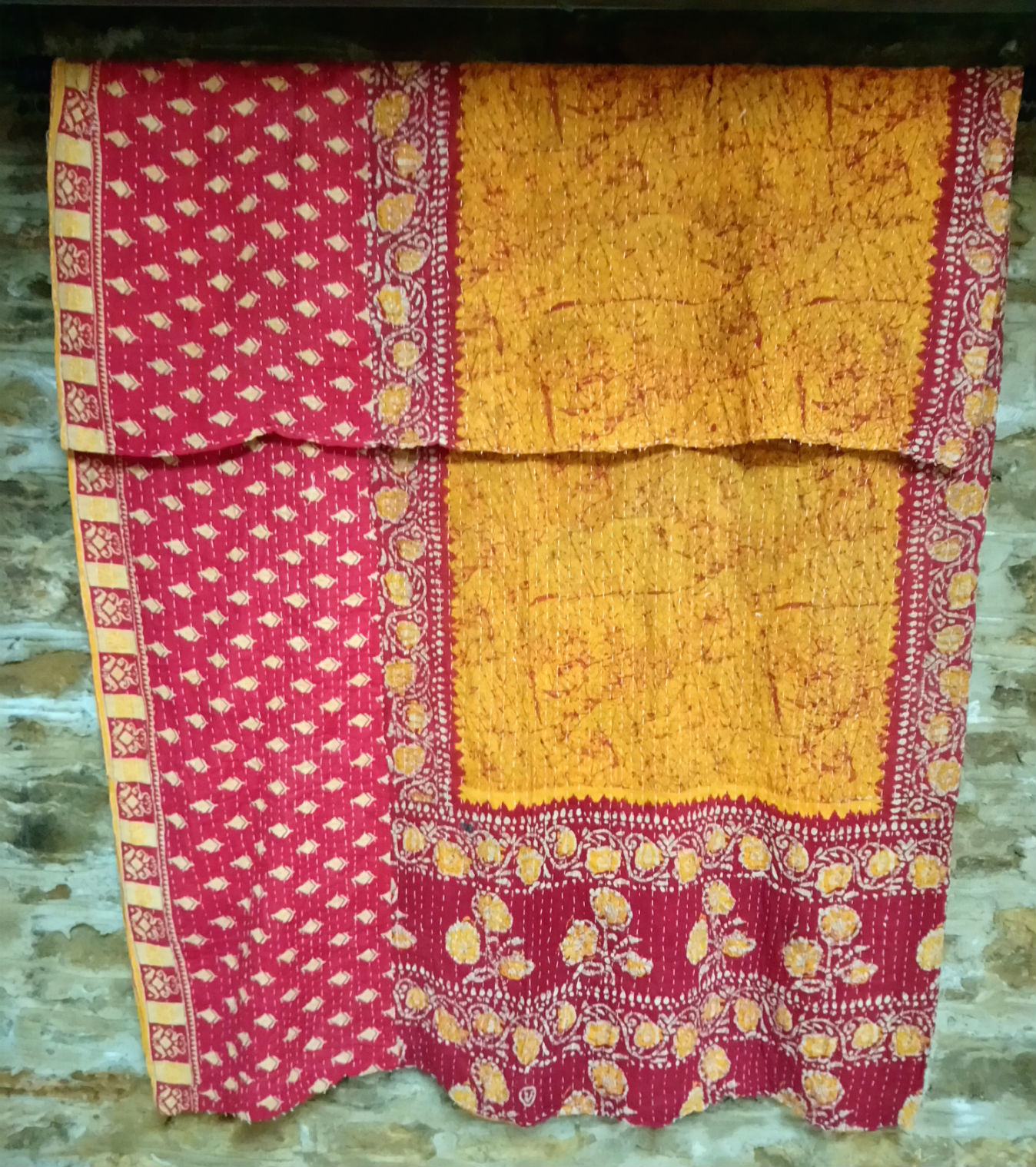Kantha Sari Throw #46