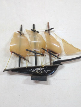 Vintage Horn Ship Sculpture