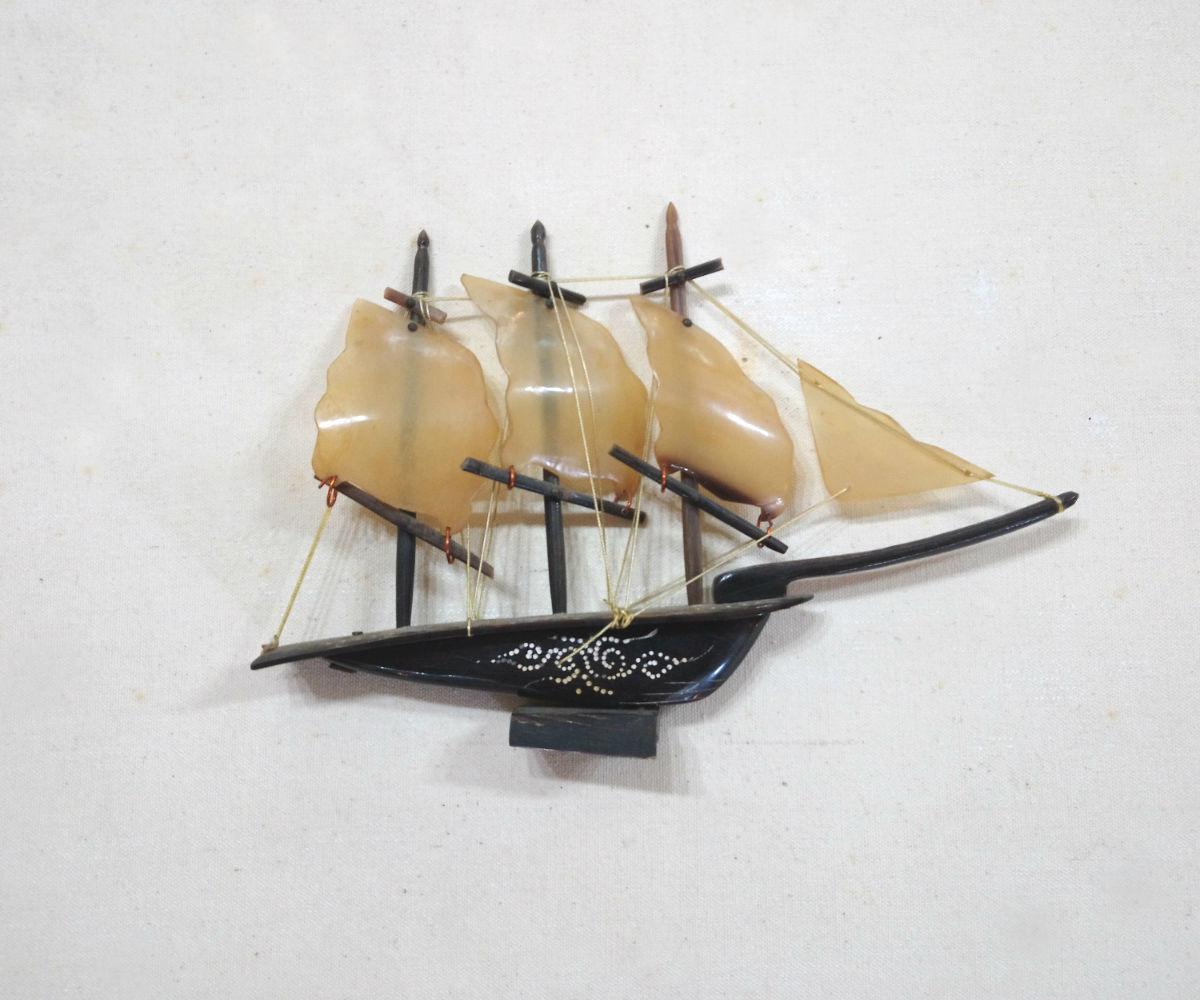 Vintage Horn Ship Sculpture