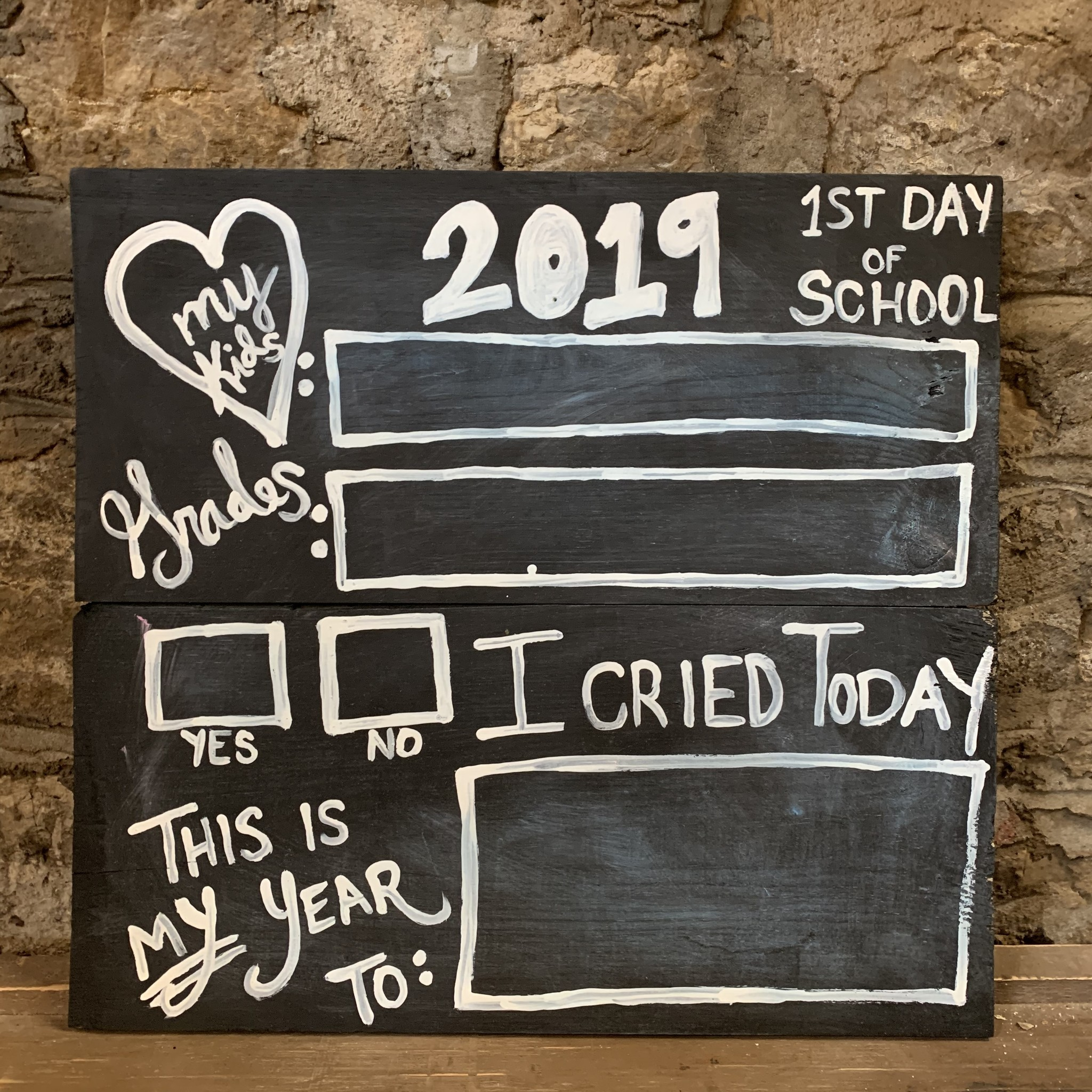 Mom's 1st Day of School Chalkboard