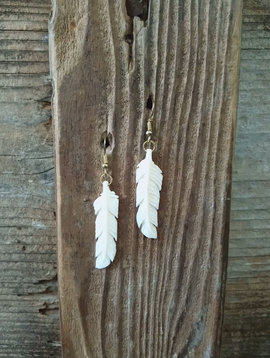 Carved Antler Feather Earrings