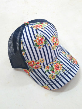 Navy Floral Stripe Ball Cap