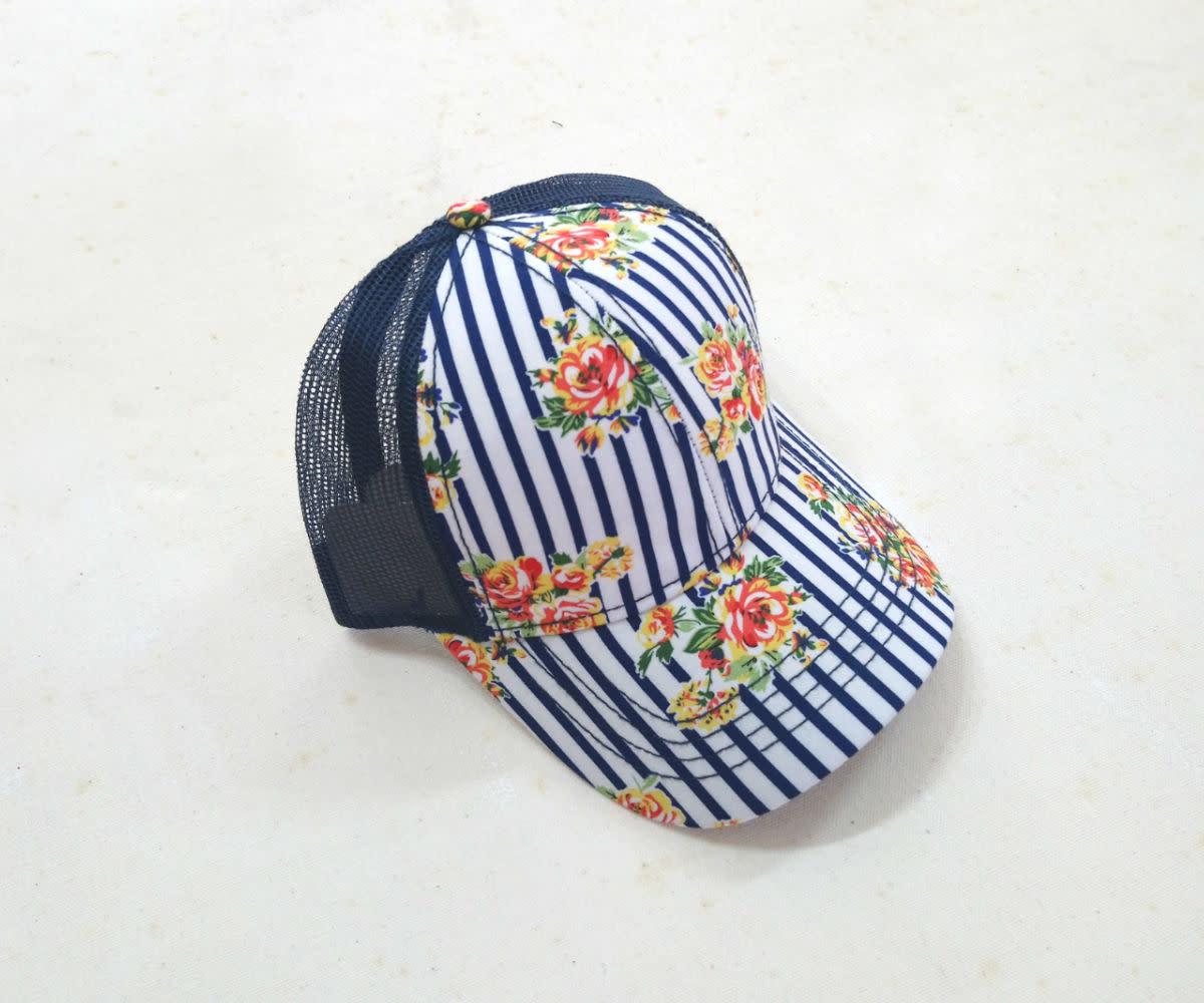 Navy Floral Stripe Ball Cap
