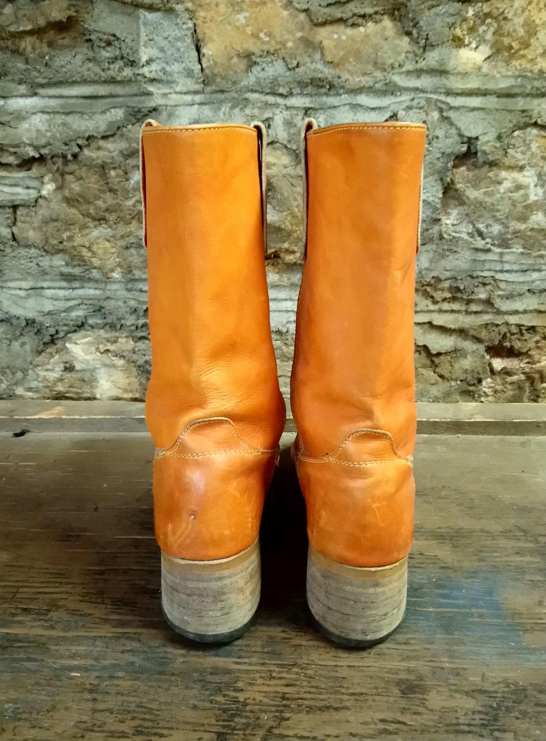 Size 9 Vintage Burnt Orange Leather Boots