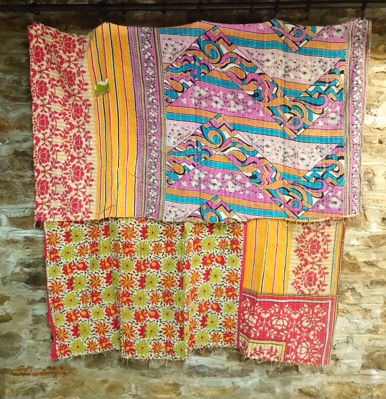 Kantha Sari Throw #64
