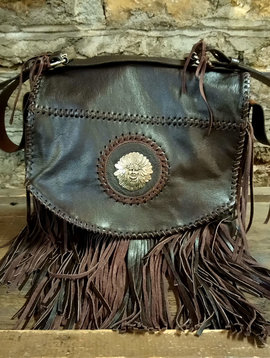 Leather Fringe Hobo Bag with Native American Chief