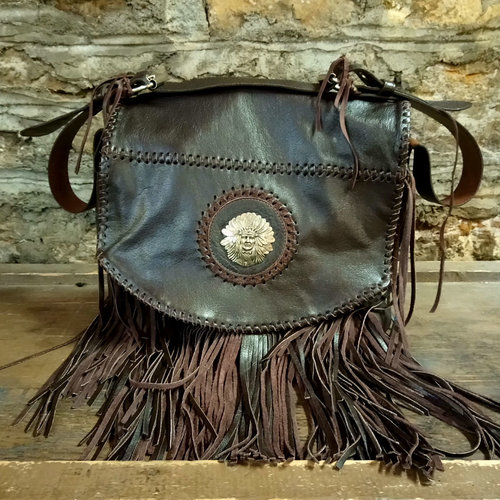 Cactus Creek Leather Fringe Hobo Bag with Native American Chief