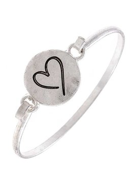 Cactus Creek Silver Etched Heart Bangle Bracelet