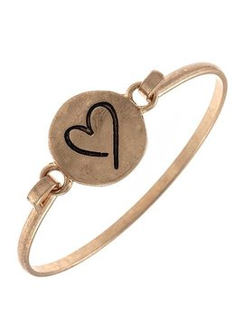 Gold Etched Heart Bangle Bracelet