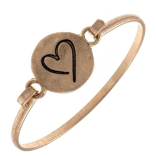 Cactus Creek Gold Etched Heart Bangle Bracelet