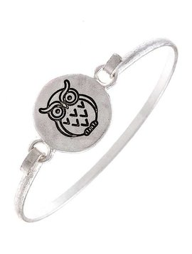 Cactus Creek Silver Etched Owl Bangle Bracelet