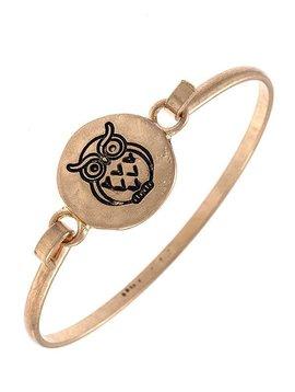 Gold Etched Owl Bangle Bracelet