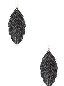 Gray Fringe Leaf Earring